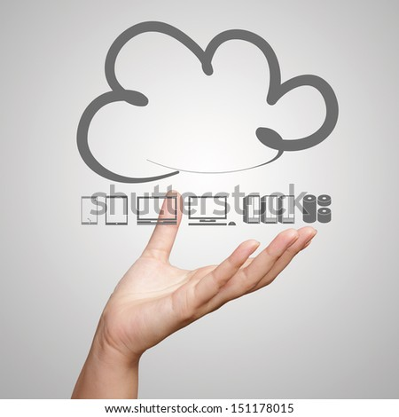 hand working with a Cloud Computing diagram on the new computer interface as concept - stock photo