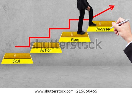 hand writing pose and business man walking up gold bars stepping ladder have red rising arrow with word goal plan action success idea concept for success and growth - stock photo
