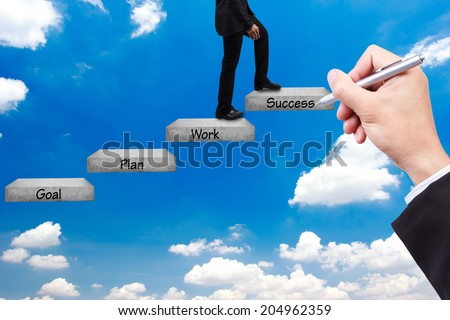 hand writing pose and business man walking up stepping ladder on blue sky with word goal plan work success idea concept for success and growth  - stock photo