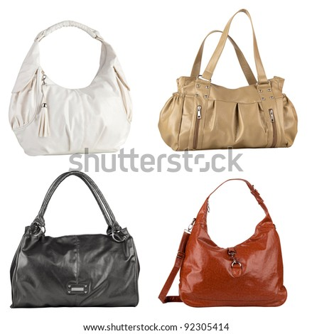 4 handbags isolated over white background - stock photo