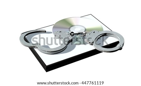 Handcuffs and DVD / CD boxes isolated in white - Software piracy concept - 3d rendering