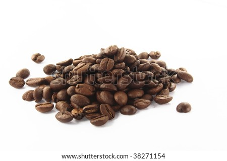handful of coffee beans - stock photo