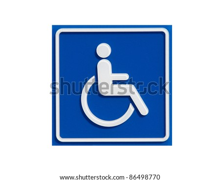 handicap sign isolated on white background - stock photo