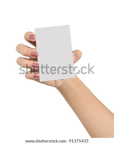 hands of a young woman carrying a blank card isolated on white background 2 - stock photo
