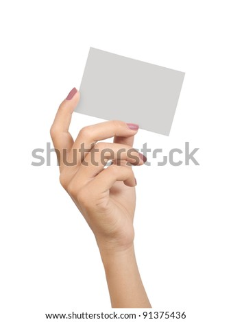 hands of a young woman carrying a blank card isolated on white background - stock photo
