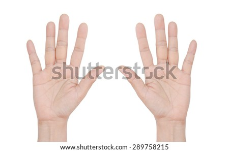 2 Hands on white background - stock photo