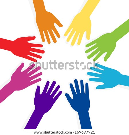 hands shape forming teamwork star concept - stock photo