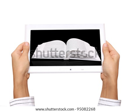 hands with electronic book - stock photo