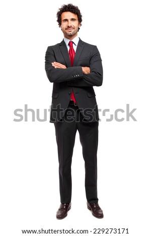 Handsome businessman full length portrait  - stock photo