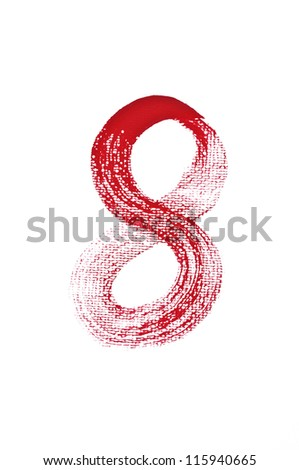 8-Handwritten  Watercolor number isolated on white background - stock photo