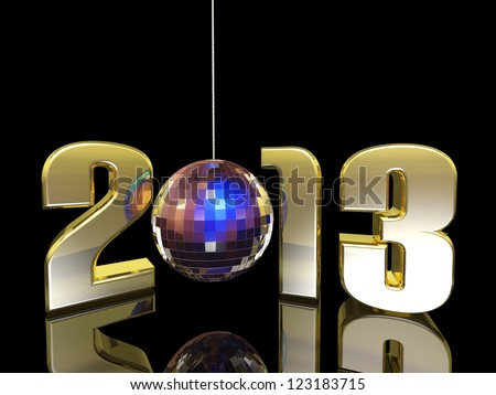 2013 hanging New Year Disco Ball with reflections. Happy New Year. - stock photo