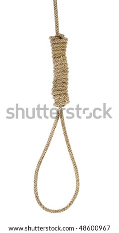 Hanging noose of rope isolated on white - stock photo