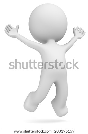 Happiness. The Dude jumping of joy. Isolated. - stock photo