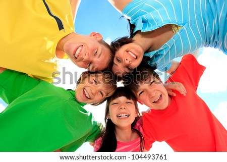 Happy children in circle - stock photo