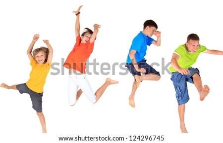Happy children jumping - stock photo