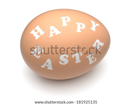 """Happy Easter"" words engraved on hen's eggshell. Clipping paths included. - stock photo"