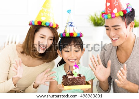 happy Family Celebrating daughter's  Birthday