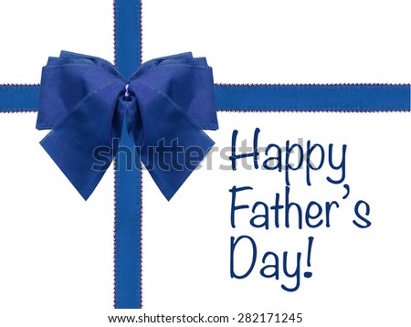 Happy Father's Day blue bow and ribbon isolated white wrapped present - stock photo