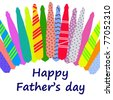 Happy Father's Day card with a pattern of colorful ties isolated on a white background - stock vector