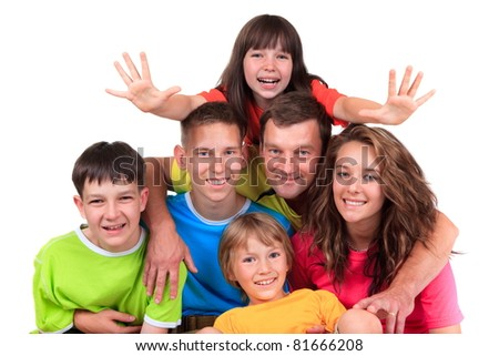 Happy father with children - stock photo