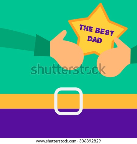 Happy Fathers Day concept with happy father and his gift - stock photo