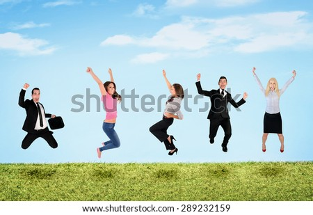 Happy five people jumping in landscape - stock photo