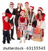 Happy group people with children in santa hat .  Isolated. - stock photo