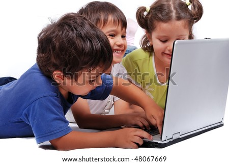 happy kids with laptop computer isolated