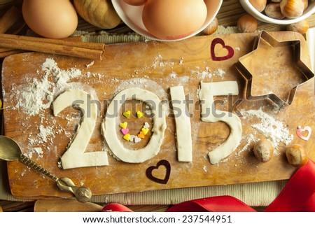 2015 happy new year baking background - stock photo