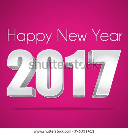 2017 Happy New Year. Best wishes. Pink and silver greeting card. - stock photo