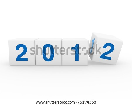 2011 2012 happy new year blue 3d cube - stock photo