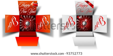 2013 Happy New Year Box / Two open box with timer and written happy new year 2013 on white background - stock photo