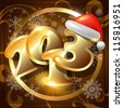 2013 Happy New Year card or  background with Santa`s hat, snowflakes,  stars. - stock photo