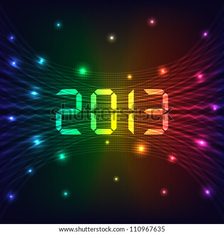 2013 Happy new year celebration background with neon lights style 2013 text. Glowing lights on dark background. Vector version also available.