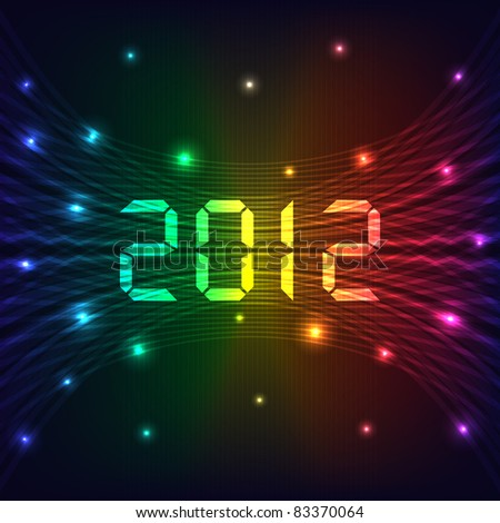 2012 Happy new year celebration background with neon lights style 2012 text. Glowing lights on dark background. Vector also available.