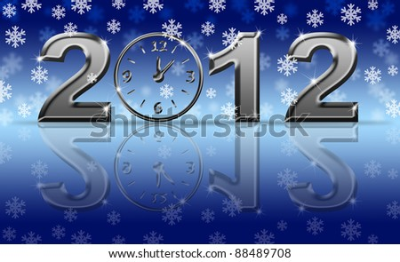 2012 Happy New Year Clock with Snowflakes and Reflection - stock photo