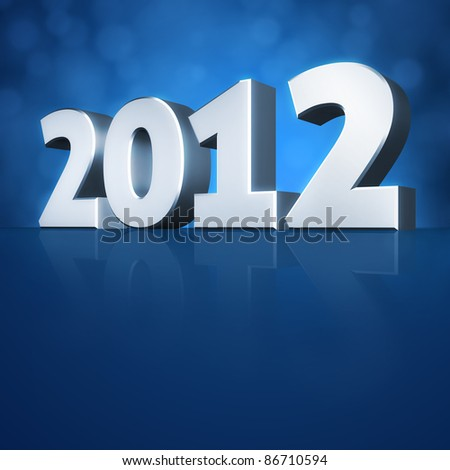 2012 Happy New Year 3d message background - stock photo