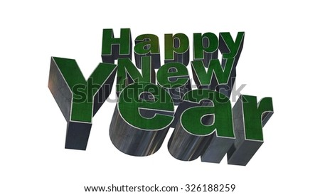 Happy New Year - 3D  text metal design