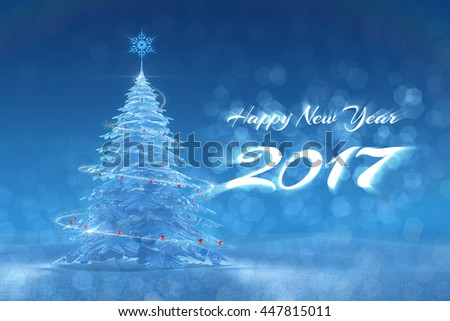 'Happy New Year - 2017' Festive Design. 3D-rendering graphic composition on the subject of New Year's Holidays.