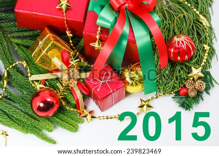 Happy New Year 2015 gift boxes decorations  - stock photo