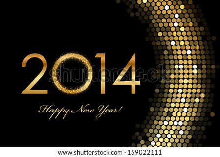 2014 Happy New Year 2014 golden glowing - stock photo