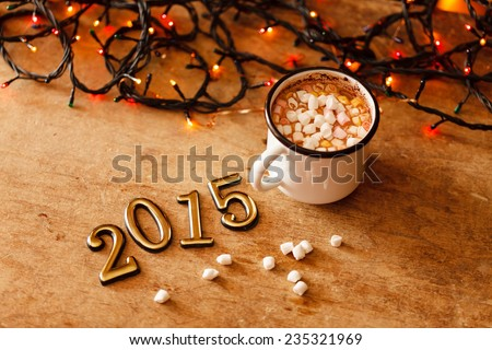 2015 Happy New Year greeting card  - stock photo