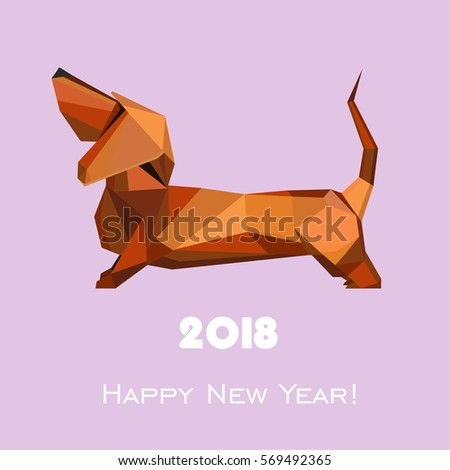 2018 Happy New Year greeting card. Celebration background with dog and place for your text. Illustration