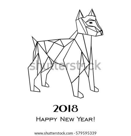 2018 Happy New Year greeting card. Celebration white background with dog and place for your text. Illustration