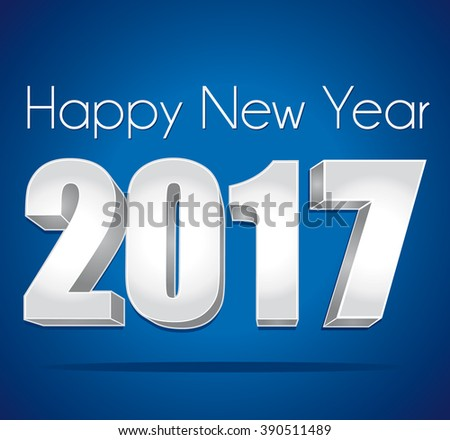 2017 Happy New Year greeting card III. Silver numbers on a blue festive background.  - stock photo