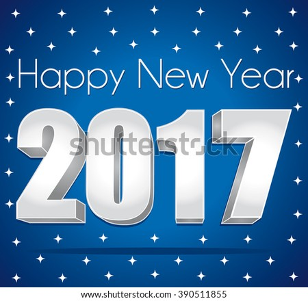 2017 Happy New Year greeting card III. Silver numbers on a blue festive starry background.  - stock photo