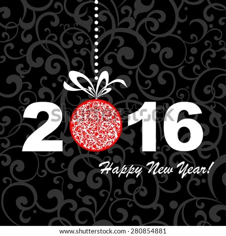 2016 Happy New Year greeting card or background. illustration