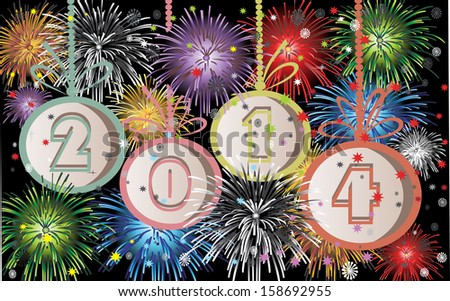 2014 Happy New Year greeting card or background. 2014 year and fireworks.