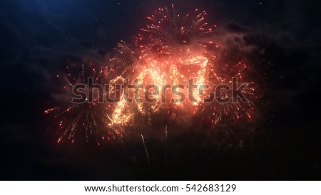 2017 Happy New Year greeting text with particles and sparks on black night sky with colored slow motion fireworks on background, beautiful typography magic design.