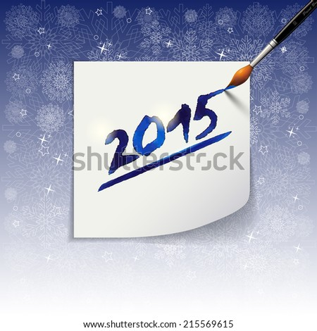 2015 Happy New Year hand lettering  on blue background. - stock photo